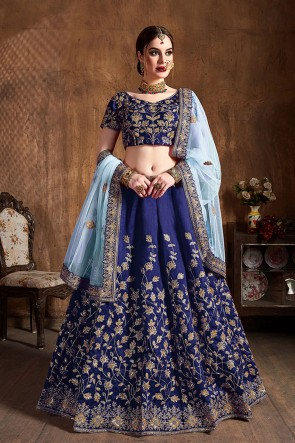 Beautiful Blue Embroidered And Sequins Work Silk Fabric Lehenga Choli With Net Dupatta