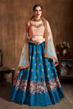 Blue And Peach Embroidered Sequins Work Silk Fabric Lehenga Choli With Net Dupatta