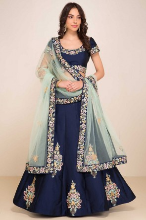 Blue Tapeta Fabric Resham Embroidery Designer Lehenga Choli With Net Dupatta