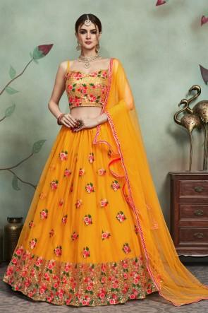 Net Fabric Sequins Work Yellow Lehenga Choli And Dupatta