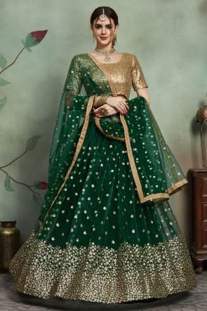 Green Sequins Work Net Fabric Lehenga Choli And Dupatta