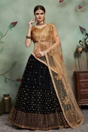Black Net Fabric Sequins Work Lehenga Choli And Dupatta