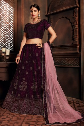Solid Violet Velvet Stone Work And Embroidered Designer Lehenga Choli With Net Dupatta