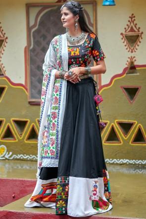 Navratri Special Black And White Resham Embroidered And Mirror Work Stylish Cotton Lehenga Choli