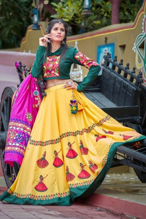 Navratri Special Classic Digital Printed Green And Yellow Cotton Lehenga Choli And Dupatta
