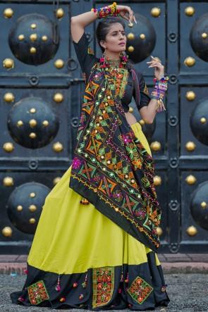 Navratri Special Black And Green Resham Embroidered Marvelous Cotton Lehenga Choli With Designer Dupatta