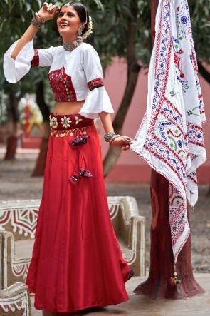Navratri Special White And Maroon Seasell Work Beautiful Silk Lehenga Choli With Cotton Dupatta