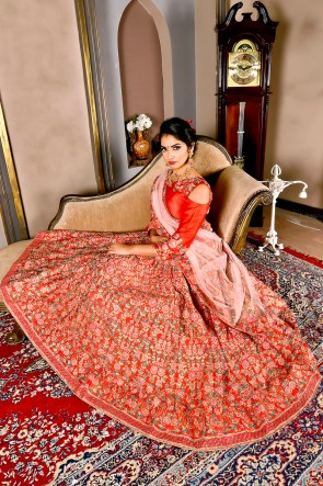 Beautiful Red Embroidered Silk Lehenga And Choli With Net Dupatta