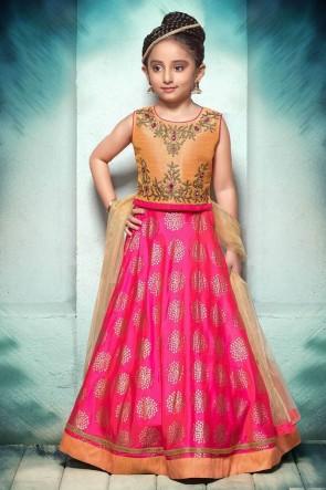 Embroidered Pink and Orange Jacquard Lehenga Choli