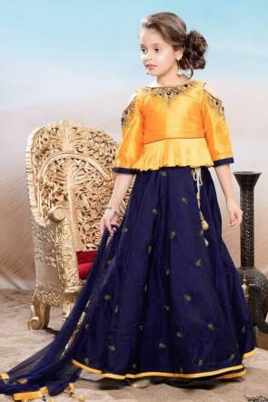 Desirable Navy Blue and Yellow Silk Hand Work Lehenga Choli