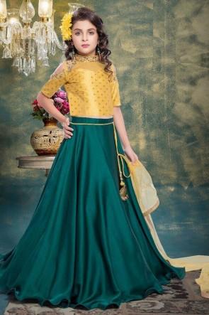Classic Yellow and Green Jacquard Hand Work Lehenga Choli