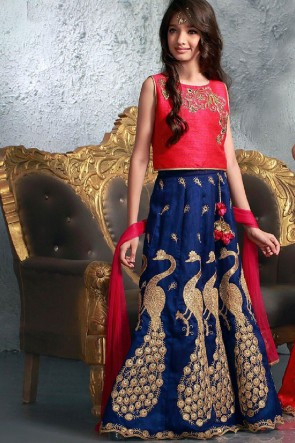 Lovely Pink and Blue Silk Embroidered Lehenga Choli