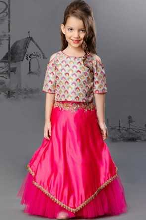 Marvelous Pink Silk and Net Embroidered Lehenga Choli