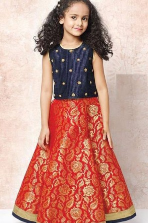 Charming Red and Navy Blue Silk Butta Work Lehenga Choli