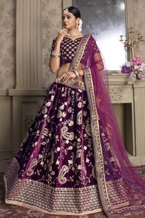 Delightful Violet Zari And Thread Work Velvet Fabric Lehenga Choli With Net Dupatta