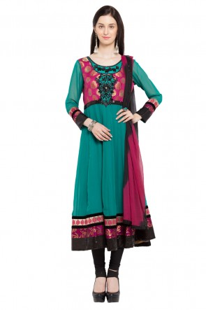 Turquoise Faux Georgette Plus Size Readymade Salwar Suit
