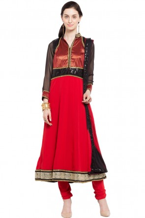 Classic Red Faux Georgette Plus Size Readymade Salwar Suit With Chiffon Dupatta