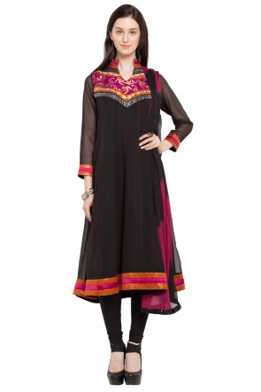 Beautiful Black Faux Georgette Plus Size Readymade Salwar Suit