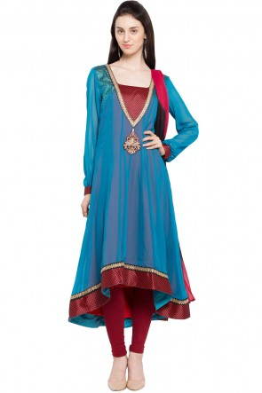 Sky Blue Party Wear Plus Size Readymade Salwar Suit