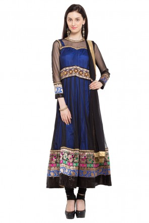 Blue and Black Faux Georgette Plus Size Readymade Salwar Suit With Chiffon Dupatta