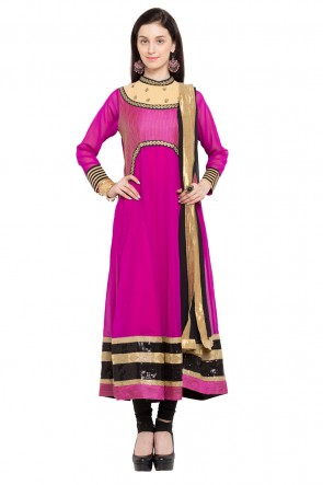 Lovely Pink Faux Georgette Plus Size Readymade Salwar Suit With Chiffon Dupatta