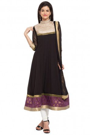 Black Faux Georgette Plus Size Readymade Salwar Suit