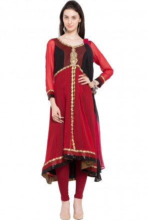 Desirable Red Faux Georgette Plus Size Readymade Salwar Suit With Chiffon Dupatta