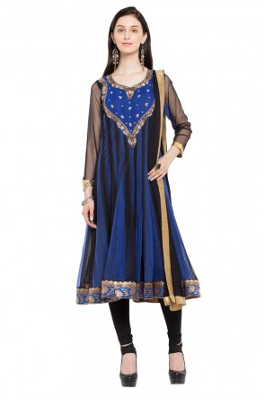 Blue and Black Faux Georgette Plus Size Readymade Salwar Suit