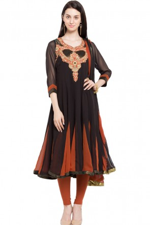 Black Faux Georgette Plus Size Readymade Salwar Suit With Chiffon Dupatta