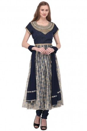 Navy Blue Net Plus Size Readymade Punjabi Salwar Suit With Chiffon Dupatta