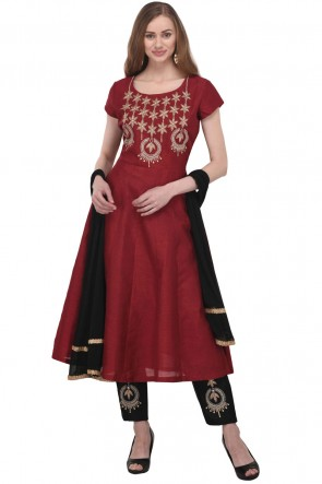 Admirable Maroon Bhagalpuri Silk Plus Size Readymade Punjabi Salwar Suit With Chiffon Dupatta
