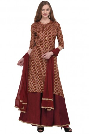 Maroon Chanderi Plus Size Readymade Punjabi Salwar Suit With Chiffon Dupatta