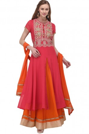 Pink and Orange Georgette Plus Size Readymade Punjabi Salwar Suit With Chiffon Dupatta