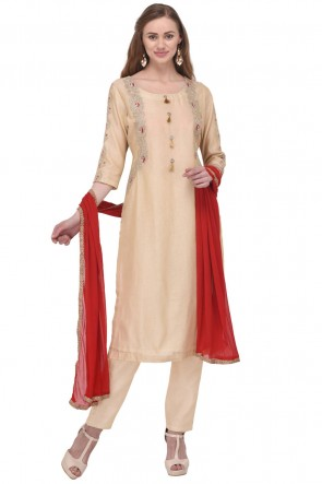 Gorgeous Cream Chanderi Straight Pant Plus Size Readymade Punjabi Salwar Suit
