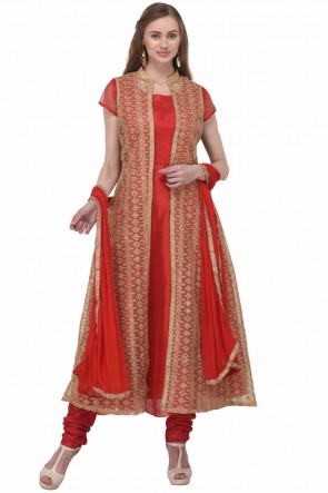 Red Bhagalpuri Silk Plus Size Readymade Punjabi Salwar Suit With Chiffon Dupatta