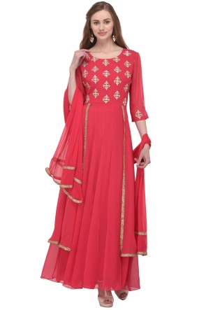 Pretty Pink Georgette Plus Size Readymade Punjabi Salwar Suit With Chiffon Dupatta