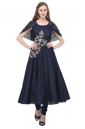 Charming Navy Blue Faux Georgette Plus Size Readymade Punjabi Salwar Suit