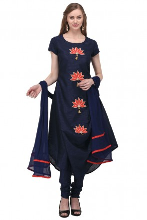Graceful Navy Blue Bhagalpuri Silk Plus Size Readymade Punjabi Salwar Suit With Chiffon Dupatta