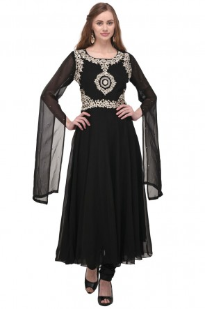 Lovely Black Georgette Plus Size Readymade Punjabi Salwar Suit With Chiffon Dupatta