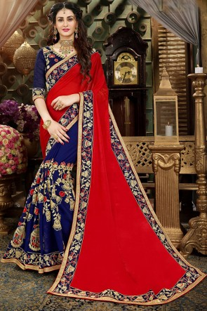 Pleasing Embroidery Work Red And Navy Blue Designer Saree With Banglori Silk Blouse