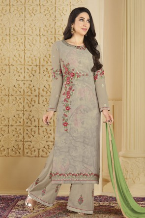 Karisma Kapoor Charming Grey Faux Georgette Embroidered and Stone Work Plazo Salwar Suit