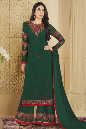 Karisma Kapoor Green Faux Georgette Embroidered and Stone Work Plazo Salwar Suit