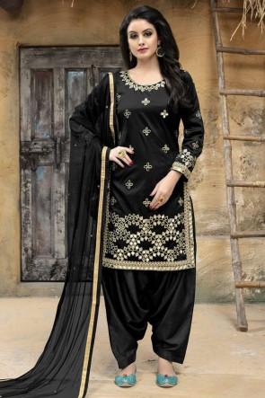 Black Silk Designer Embroidered Patiala Salwar Suit With Net Dupatta