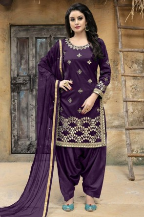 Lovely Purple Silk Embroidered Patiala Salwar Suit With Net Dupatta