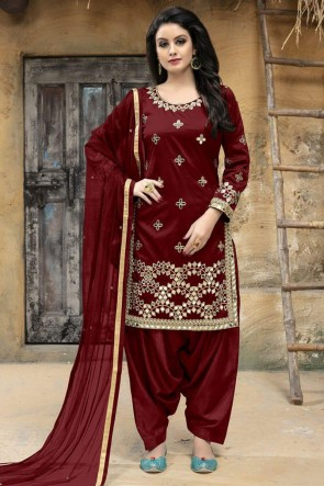 Ultimate Maroon Silk Embroidered Patiala Salwar Suit With Net Dupatta