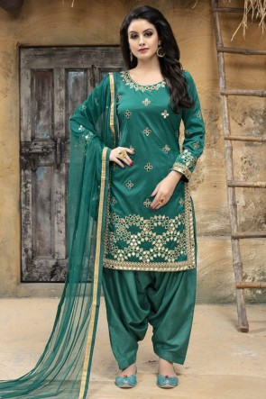Excellent Green Designer Embroidered Patiala Salwar Suit With Net Dupatta