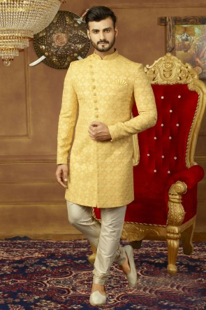 Yellow Banarasi Silk Embroidered Wedding Sherwani