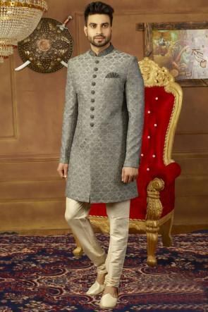 Grey Banarasi Silk Designer Wedding Sherwani