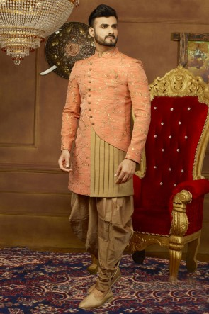 Classic Peach Banarasi Silk Embroidered Wedding Sherwani