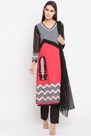 Stylish Peach Cotton Plus Size Readymade Punjabi Salwar Suit With Faux Chiffon Dupatta